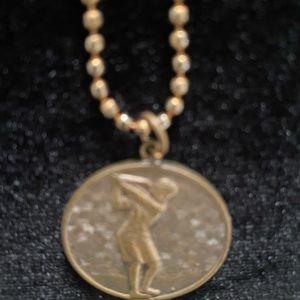 Vintage Lady Golfer Pendant Necklace